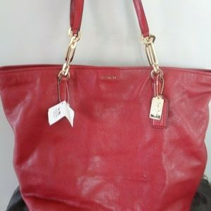 COACH $358 Madison Leather Tote Shopper New REd